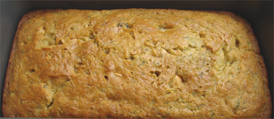 Zucchini nuts quick bread, Eggless cake hot from the oven