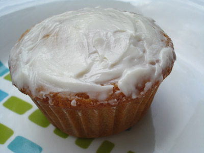 Egg less corn meal muffin with vanilla frosting