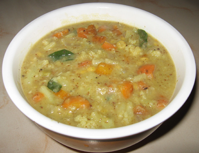 Cauliflower and Carrot kootu, Paruppu kootu