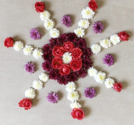 Simple and Quick Flower Rangoli Design