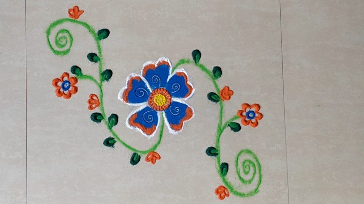 Freehand Border RANGOLI Designs | Easy and Quick Kolam using finger