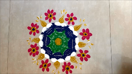 Simple Diya Rangoli Design for Karthigai Deepam