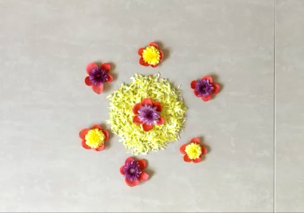 Flower Rangoli Design for Karthigai Deepam and Onam