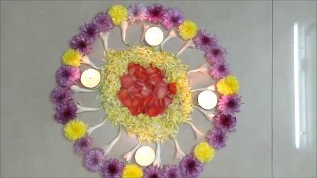 Flower Rangoli design for onam || Quick and Simple Pookolam