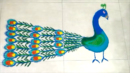 Peacock Rangoli Design for Diwali and Pongal