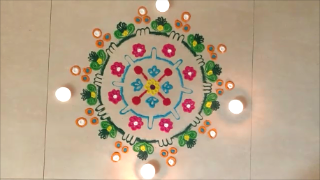 Beautiful Rangoli Design for Sankranti | Easy Kolam for Pongal