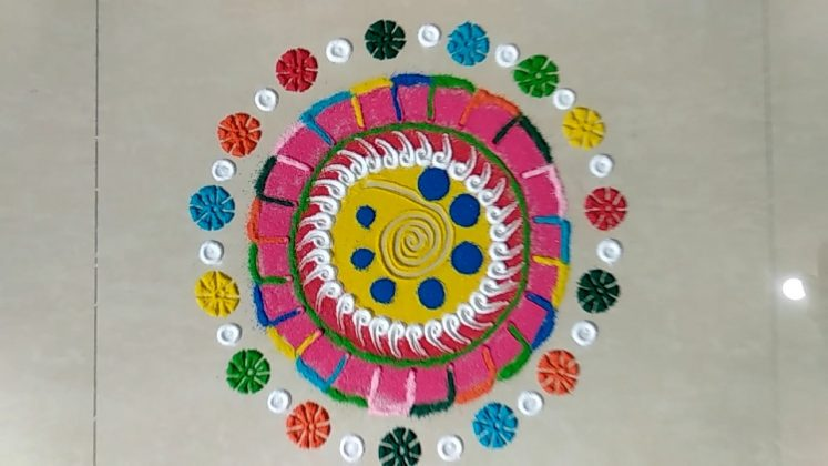 Multicolour Rangoli Designs for Sankranti | Pongal kolam