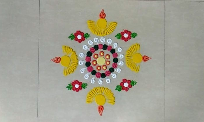 Simple Lamp Rangoli Designs | Deepam kolam | Diya Muggu