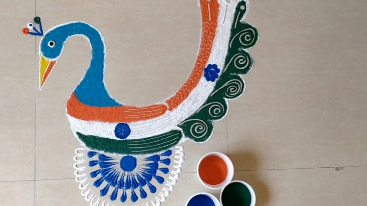 Republic day Rangoli Designs with Peacock | Kolam | Muggulu