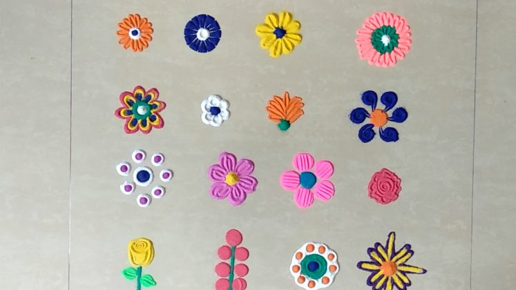 16 Easy, quick and unique Flower Rangoli Patterns | Easy rangoli designs