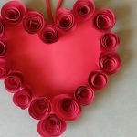 how to make paper rose with heart shape wall hanging