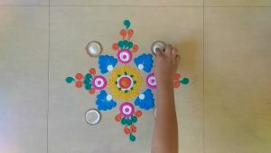 simple rangoli design with colours