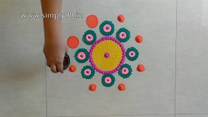 Simple Rangoli Designs for Home with Colours [kolam| muggulu]