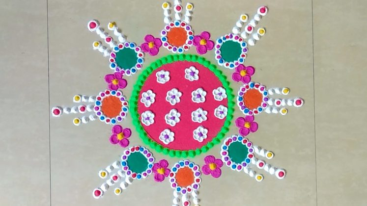 rangoli design with bangles | innovative rangoli designs
