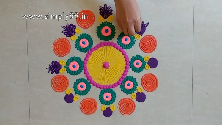 Simple Rangoli Designs For Home With Colours [Muggulu Pattern]