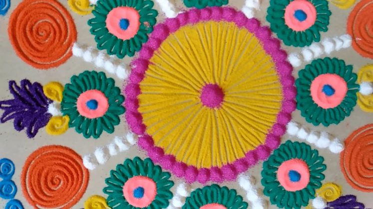 Simple Rangoli Designs for Home with Colours