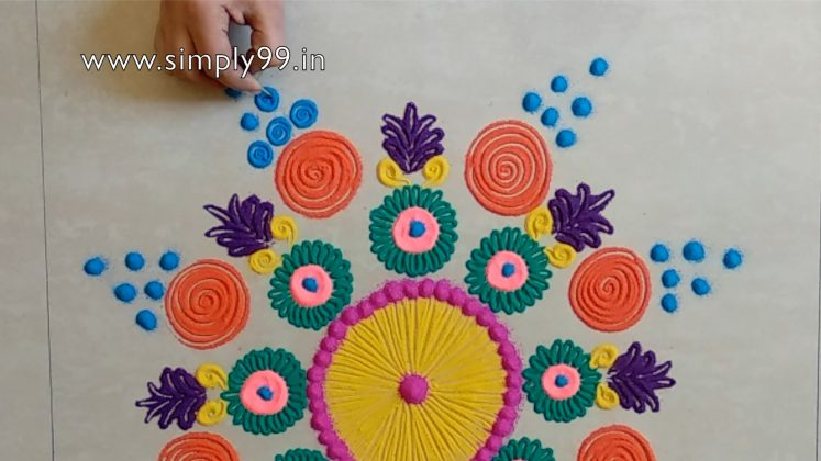 Simple Rangoli Designs for Home with Colours - simply99