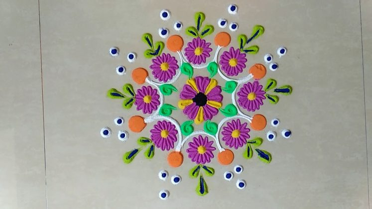 Rangoli Kolangal with Colour Flower Design -1 | Ugadi Muggulu