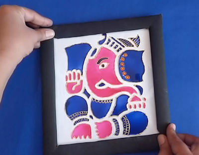 Ganesha Glass painting for beginners | ohp sheet art and craft