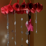 home decor |wind chime with paper rose
