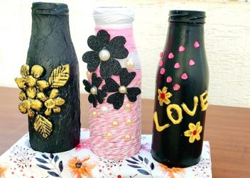 3 Bottle decorating ideas | Reuse Bottle Art- DIY | Glass Bottle craft