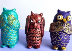 Owl Sculpture with 3 Different Clay | Home Decor | Three wise owls