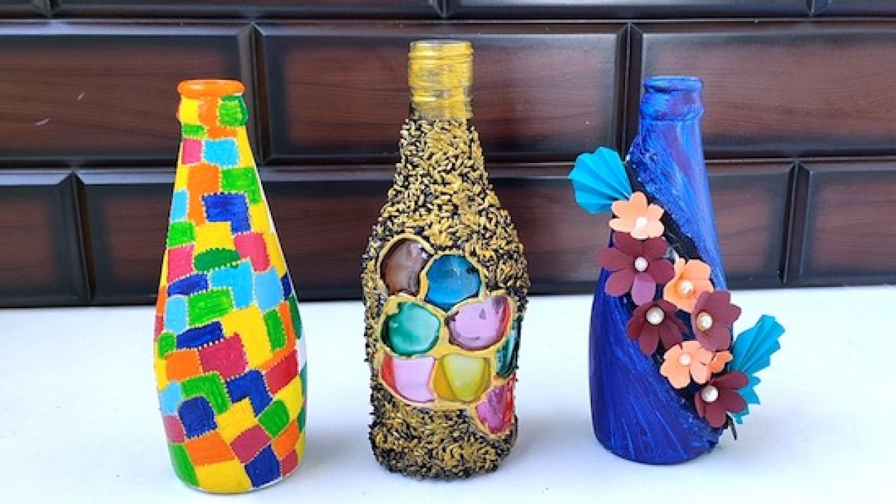 3 Easy Bottle Art Bottle Craft Painting Home Decoration Ideas
