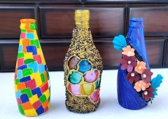 3 Easy Bottle Art | Bottle Craft Painting | Home Decoration ideas